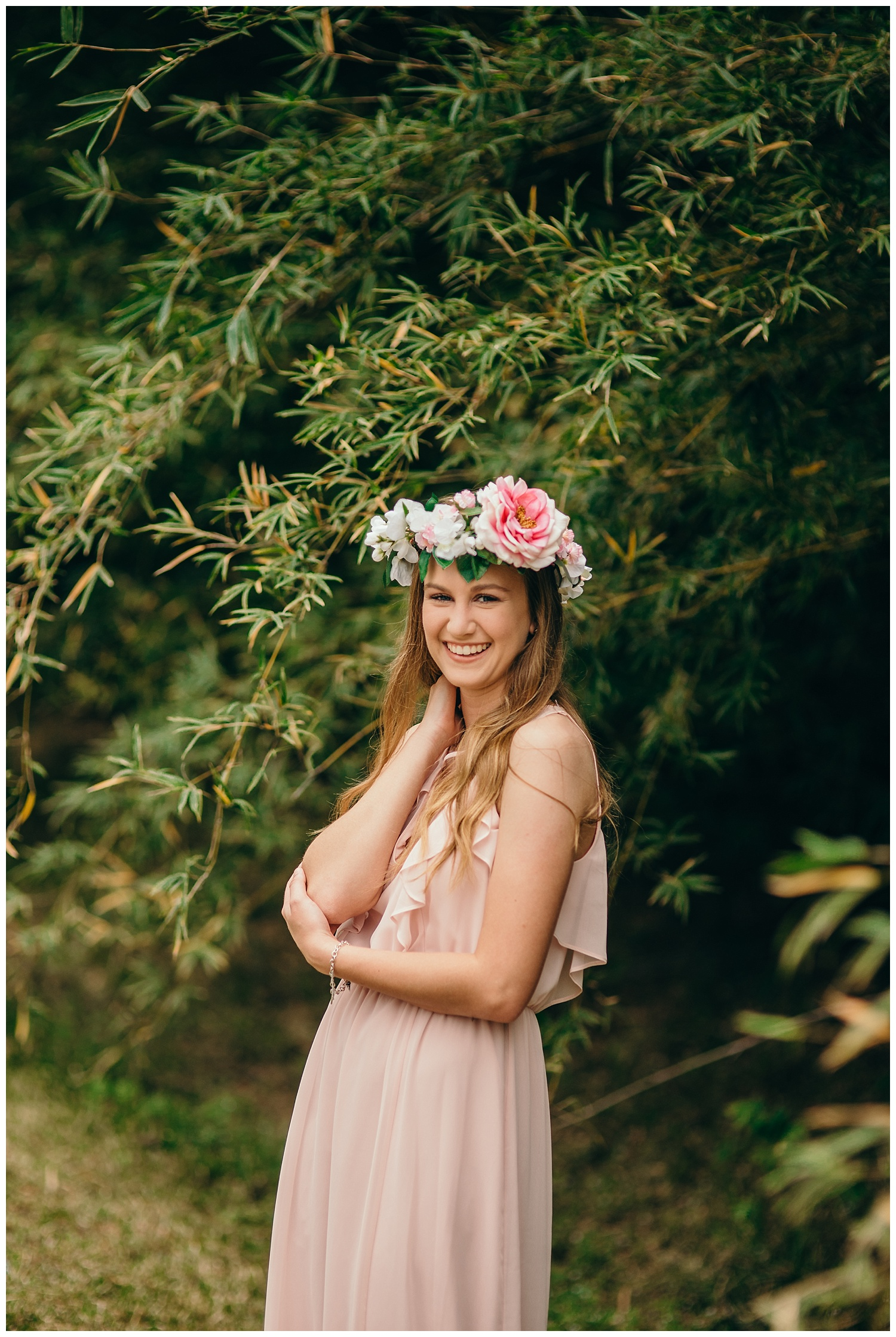 pink flower crown and pink dress