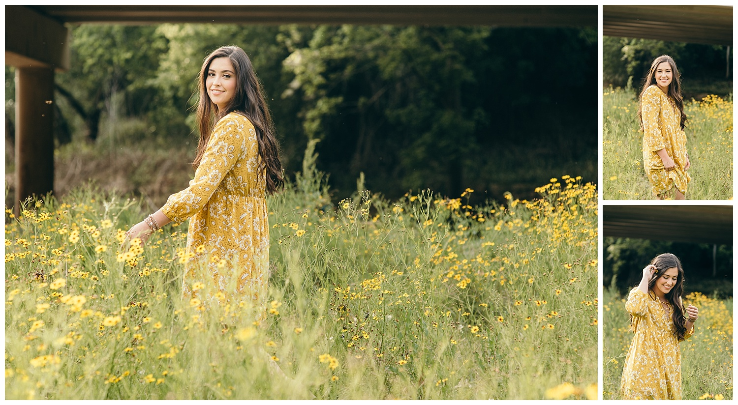senior girl in a yellow dress in a yellow field of flowers