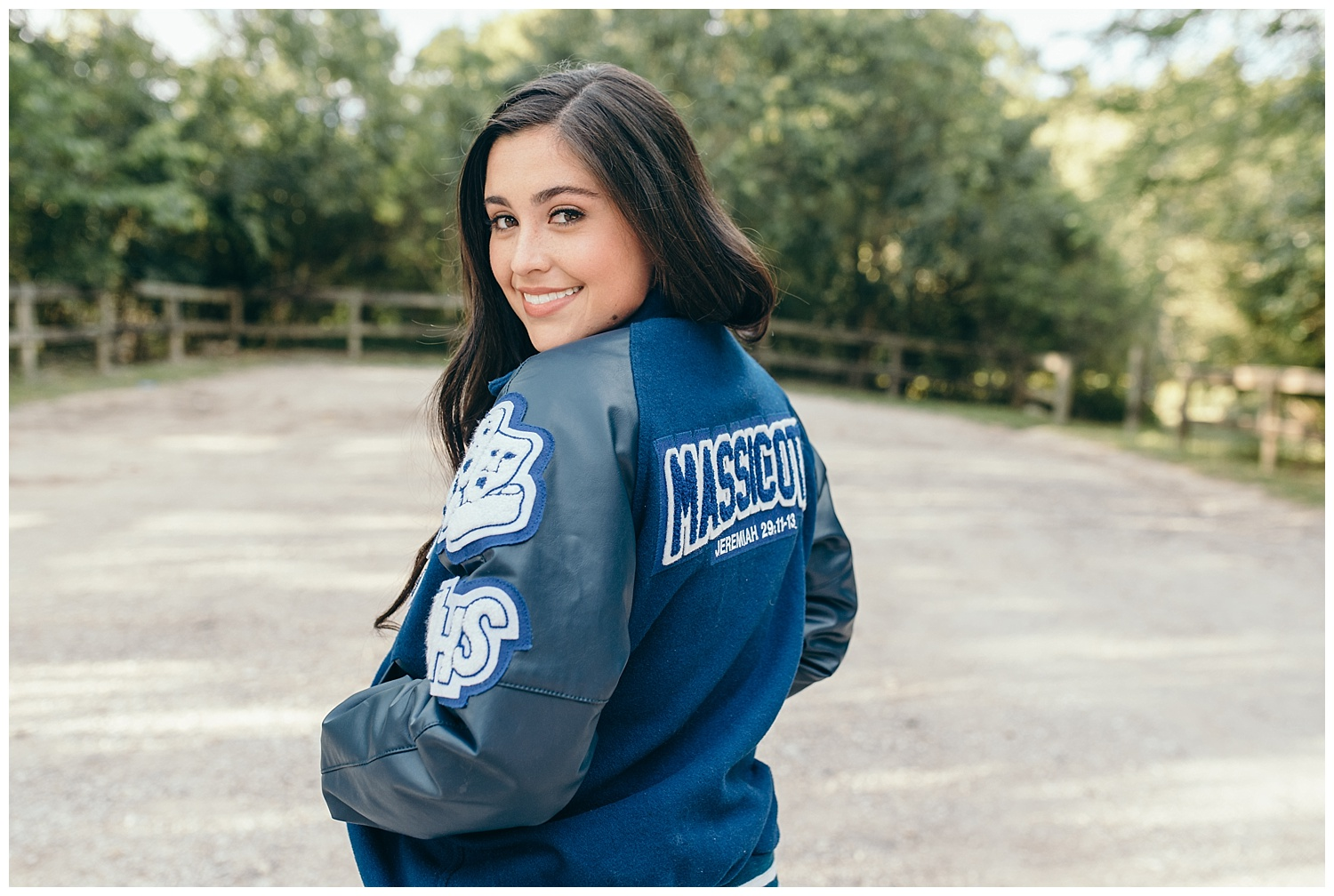 Friendswood high school senior girl with leather jacket