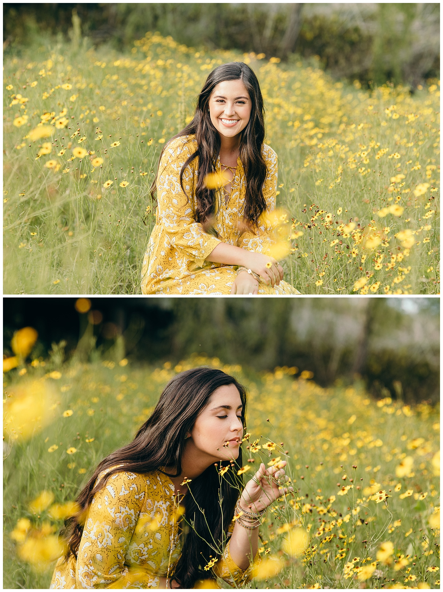 senior girl in field of yellow flowers