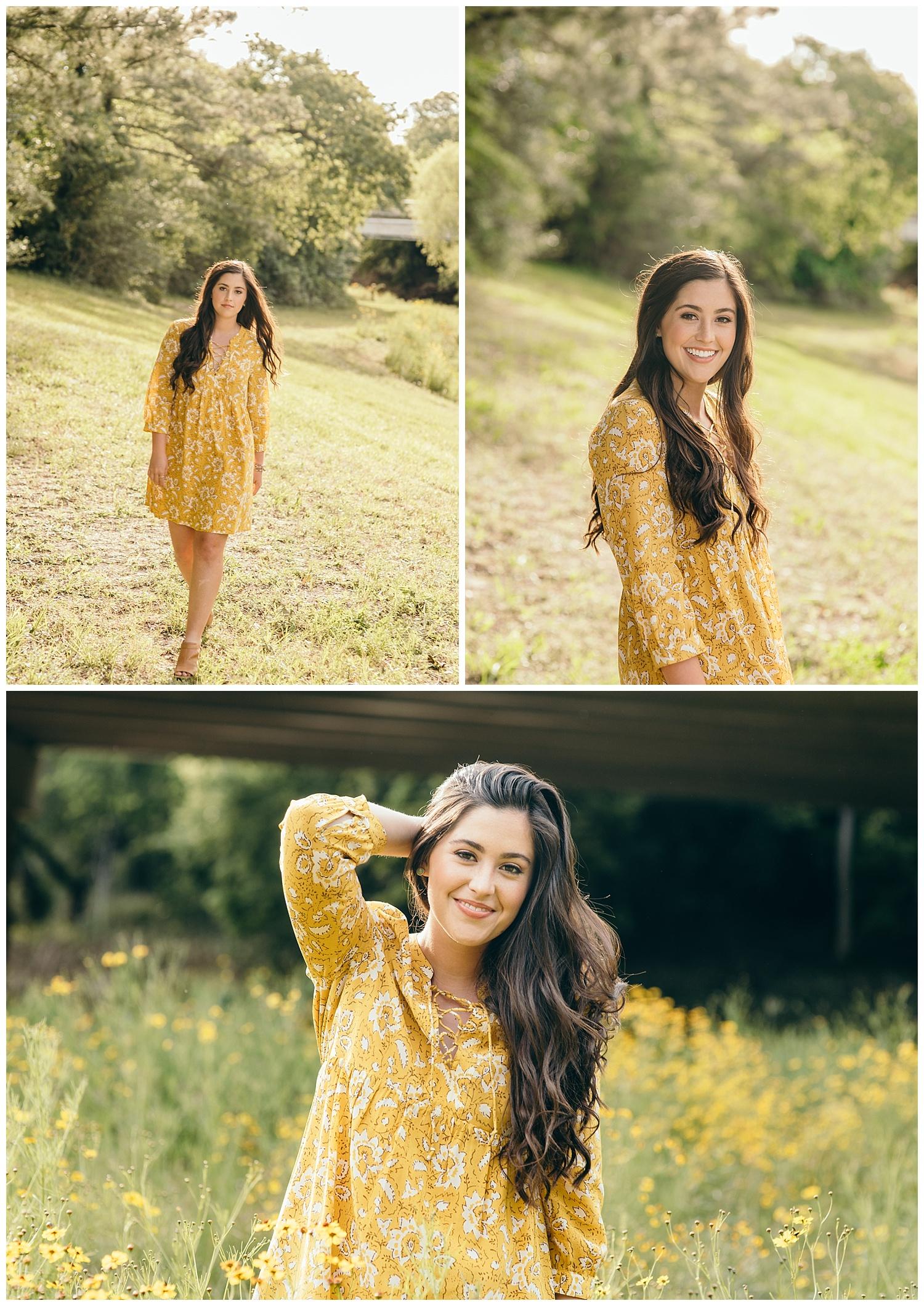 senior girl wearing yellow dress