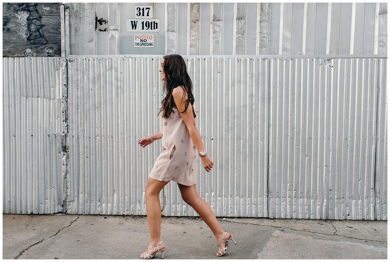 senior girl walking candid