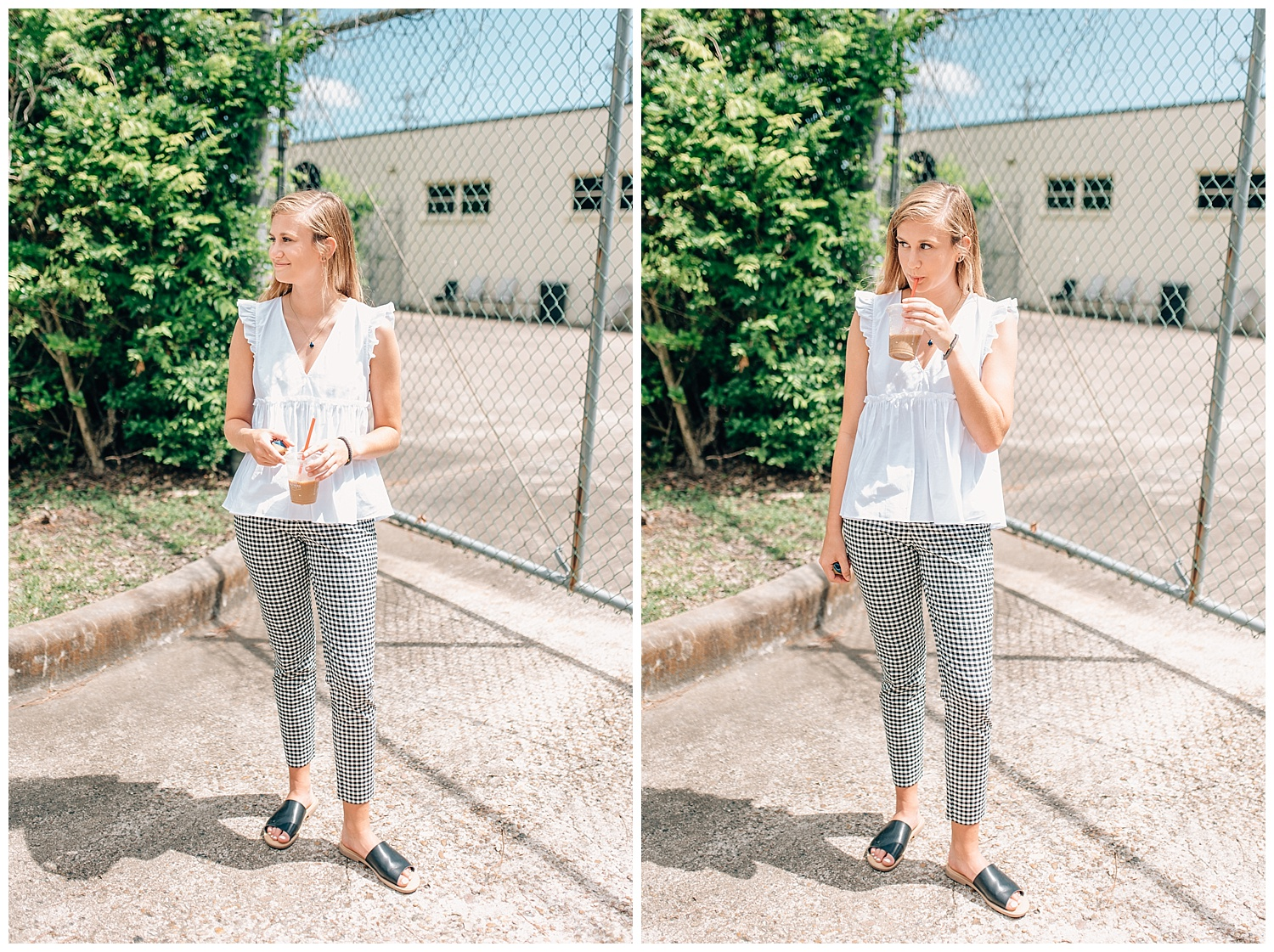 girl standing in front of chainlink fence sipping coffee