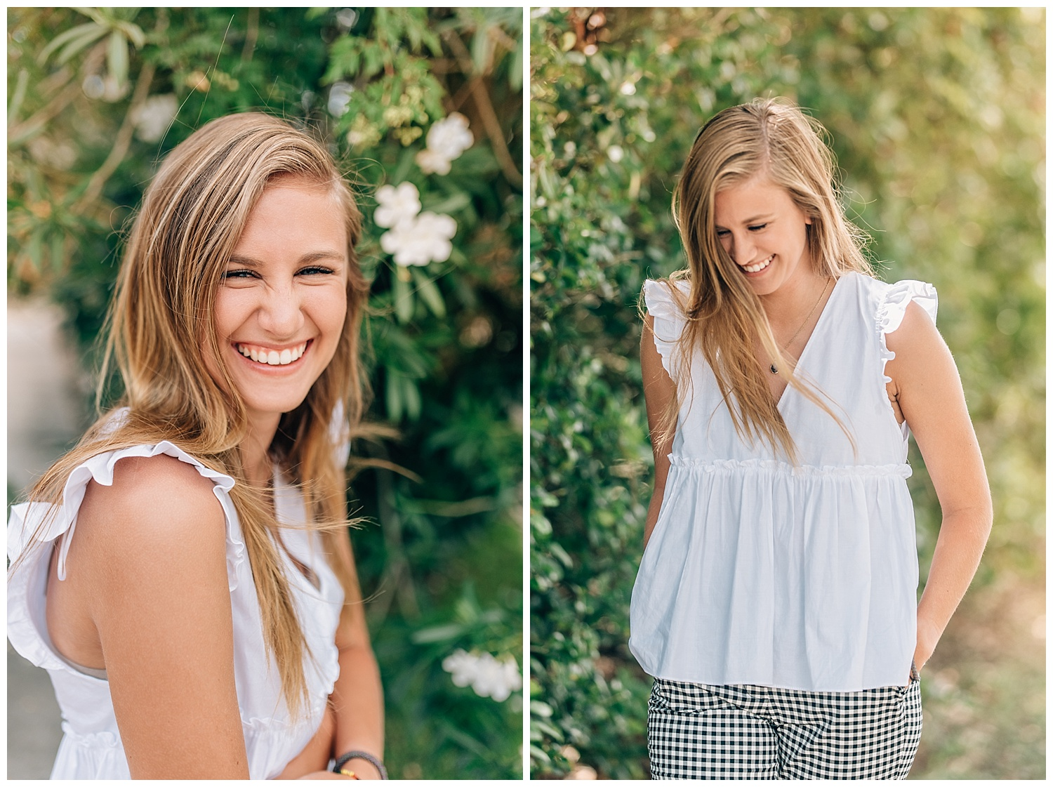 smiling blonde girl in front of tall bush