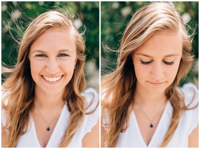 college freshman girl in white blouse smiling