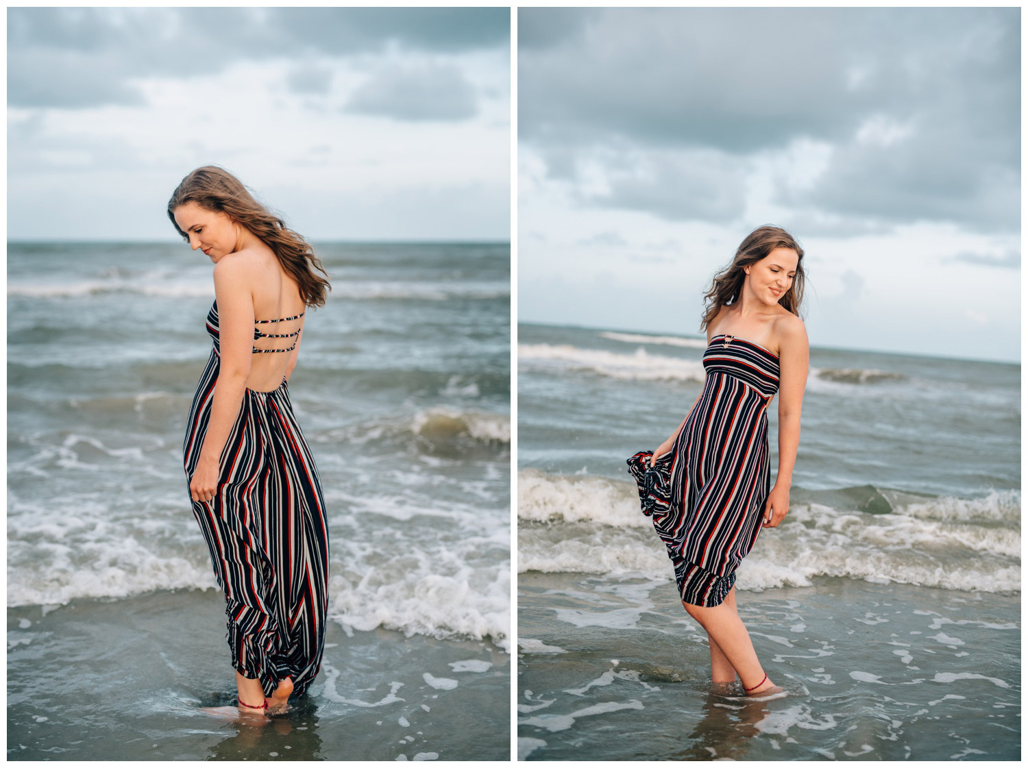 girl wearing long maxi dress in the water on a cloudy day