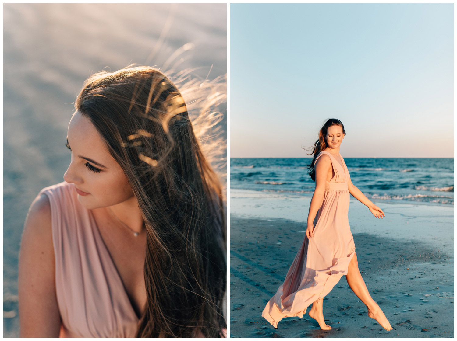 girl playing on the beach in long flowing dress