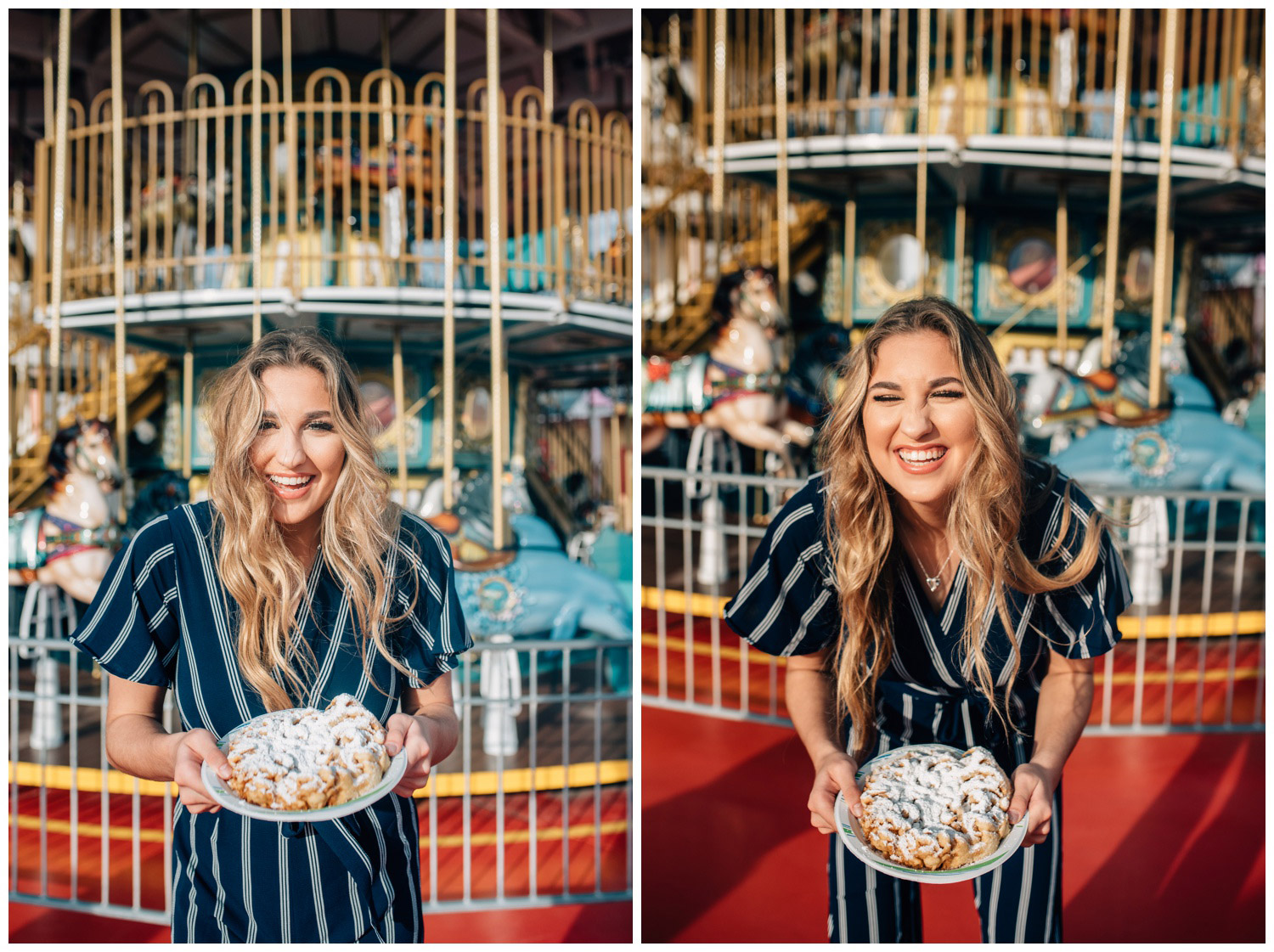 senior girl with funnel cake in front of a carousel