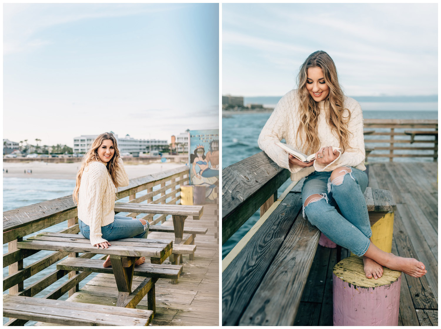 senior session in Galveston with bible and sweater