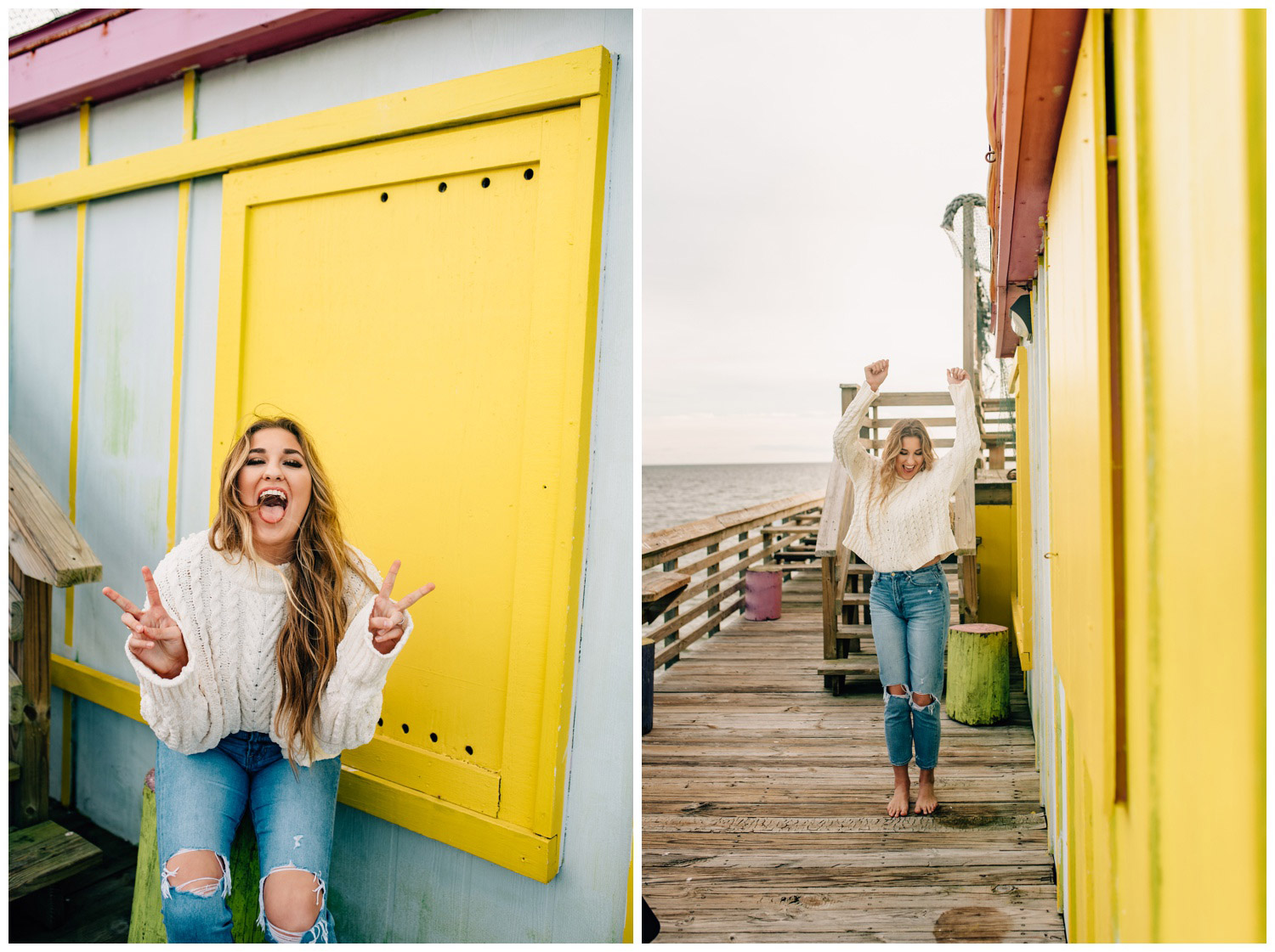 girl acting silly in front of yellow wall
