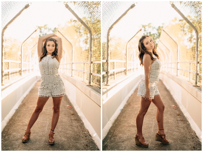 urban portrait of senior girl in white romper