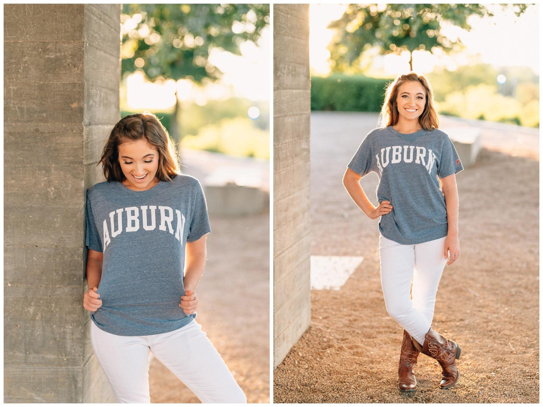 senior girl wearing Auburn t shirt