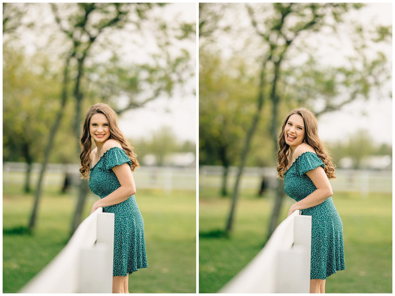teenage girl on white fence