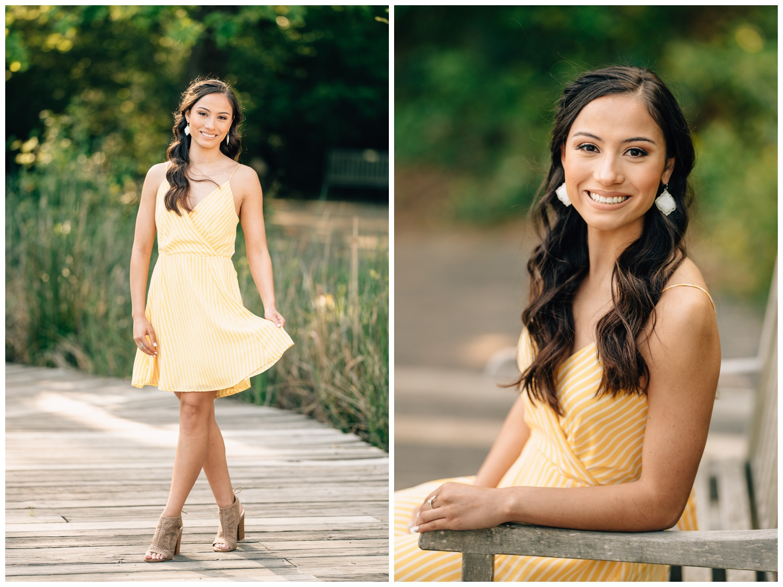 senior Houston girl in yellow dress on boardwalk