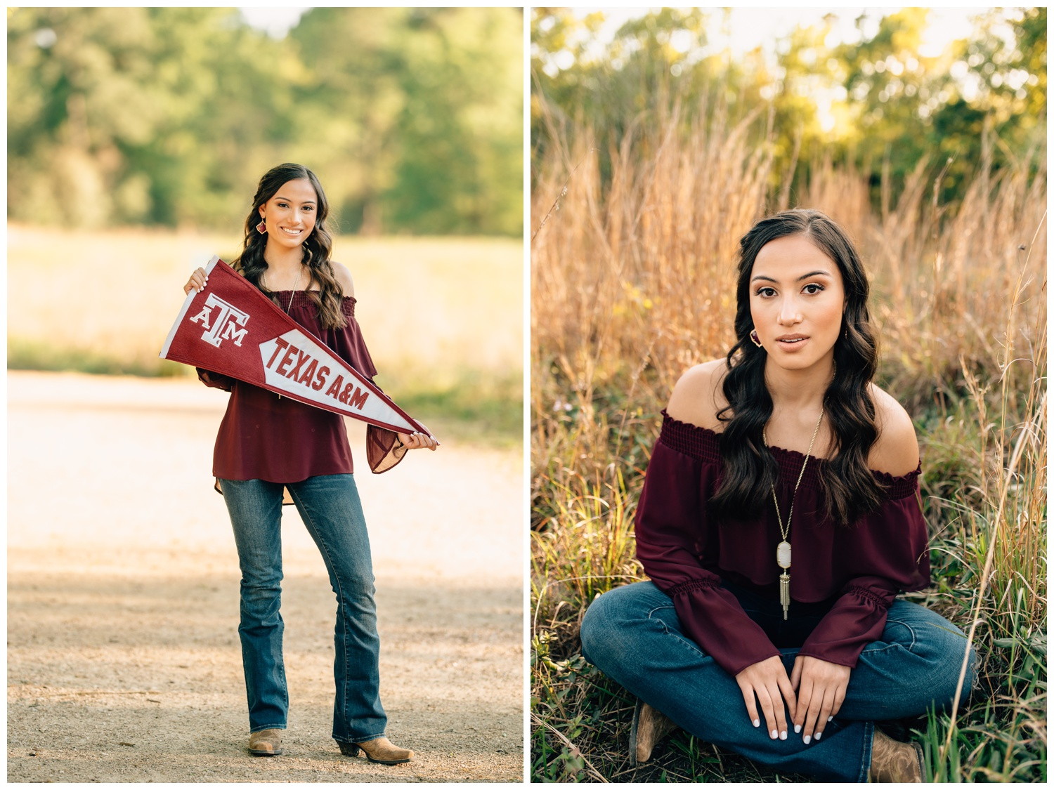 senior girl wearing maroon and holding an Aggie banner