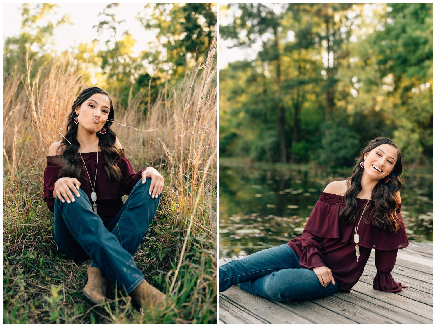 senior girl wearing maroon in her senior portraits in a field