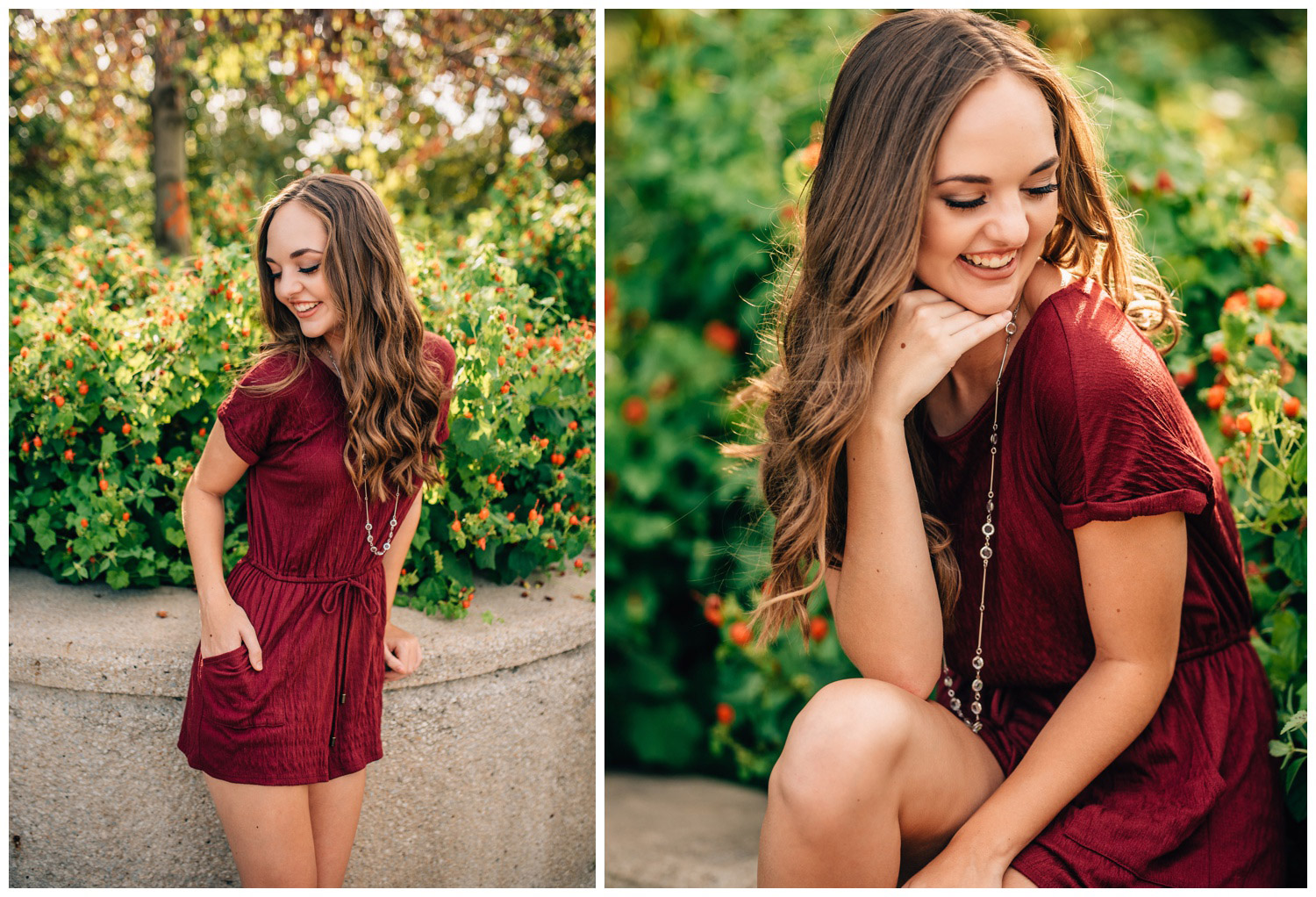 senior girl wearing all maroon sitting on a concrete wall