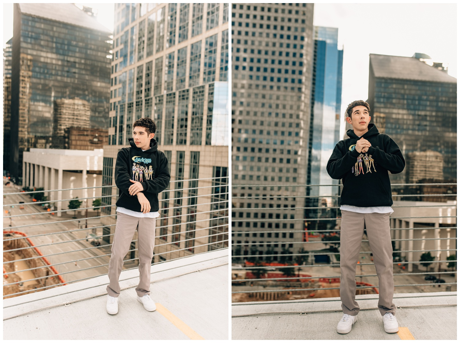 guy standing at top of a parking garage wearing urban outfit